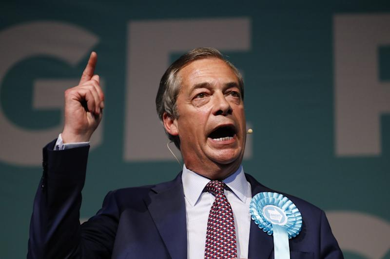 Brexit Party leader Nigel Farage addresses a European Parliament election campaign rally at Olympia London (AFP/Getty Images)