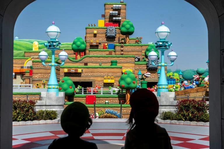 """The attraction's colourful block-like surroundings are straight out of the classic """"Super Mario"""" games"""