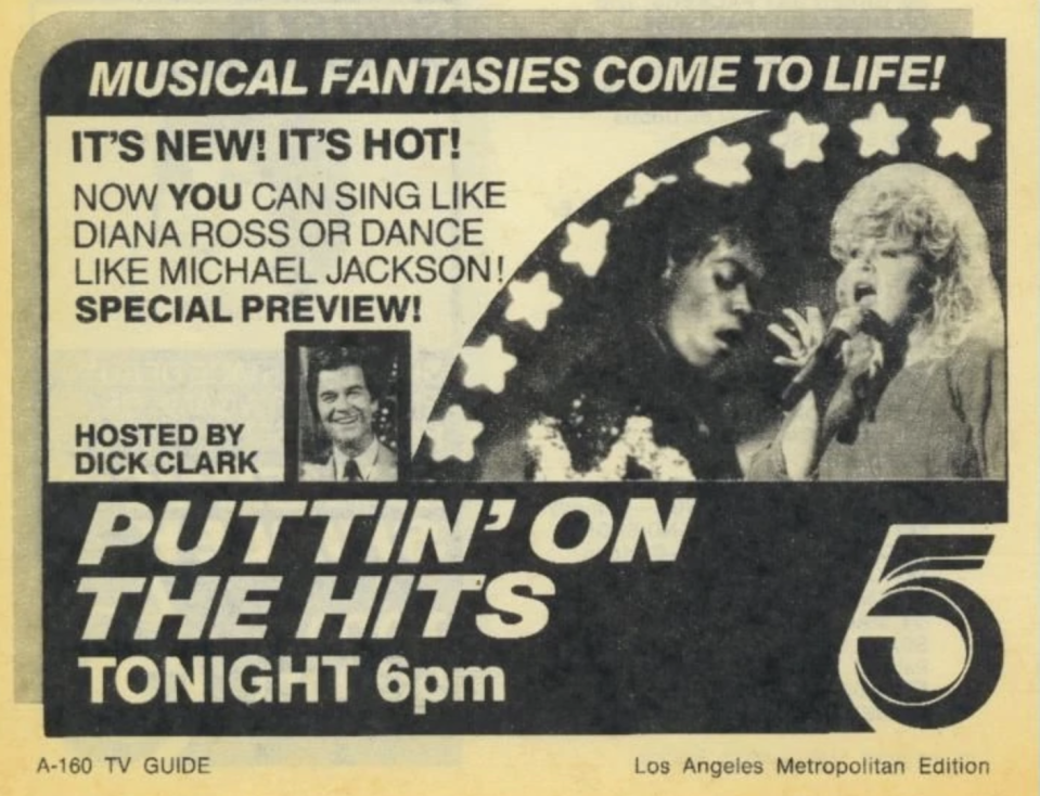 A 1984 TV Guide ad for the exciting new series 'Putting on the Hits.' (Photo: https://gameshows.fandom.com)