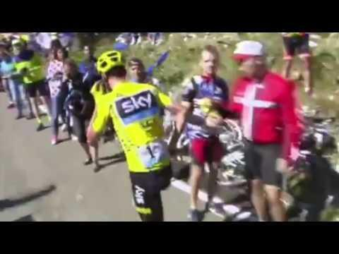 "<p>Chris Froome crashed on Stage 12 or the 2016 Tour de France and broke his bike. Helpless but determined, he started running up Mont Ventoux on foot.</p><p><a href=""https://www.youtube.com/watch?v=HHfKHpurzR8"" rel=""nofollow noopener"" target=""_blank"" data-ylk=""slk:See the original post on Youtube"" class=""link rapid-noclick-resp"">See the original post on Youtube</a></p>"