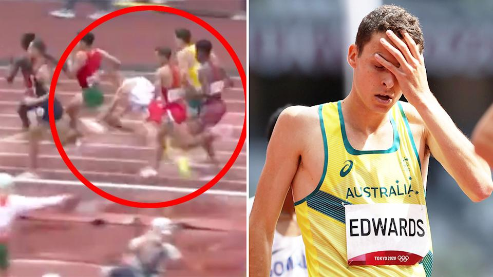 Pictured here, Jye Edwards looks shattered after his 1500m heat at the Tokyo Olympics.