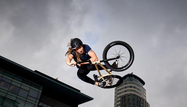 Charlotte Worthington goes for Team GB in the women's BMX freestyle