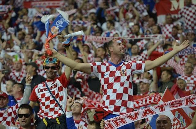 Fans of Croatia's national football team reacts prior to the Euro 2012 championships football match Republic of Ireland vs Croatia on June 10, 2012 at the Municipal Stadium in Poznan. AFPPHOTO/ ODD ANDERSENODD ANDERSEN/AFP/GettyImages