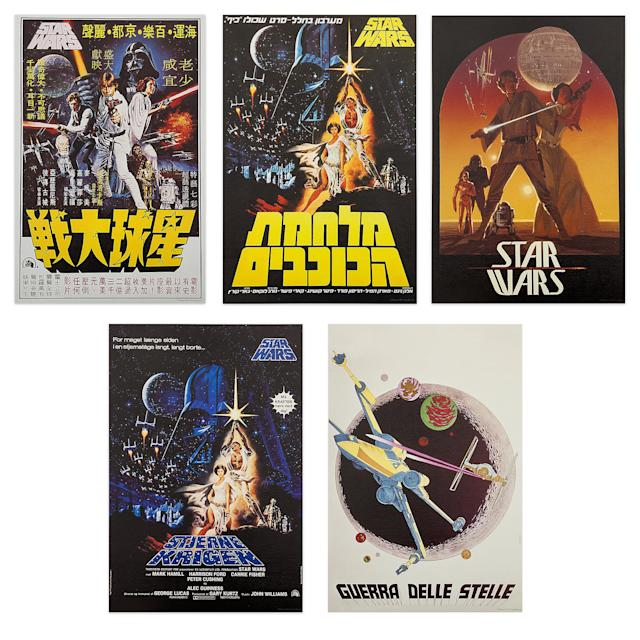 <p>This collection includes reproductions of five vintage <em>A New Hope</em> posters from around the world. The lithograph set, limited to a run of 3,300, will be available for $39.95. (Credit: Disney Store) </p>