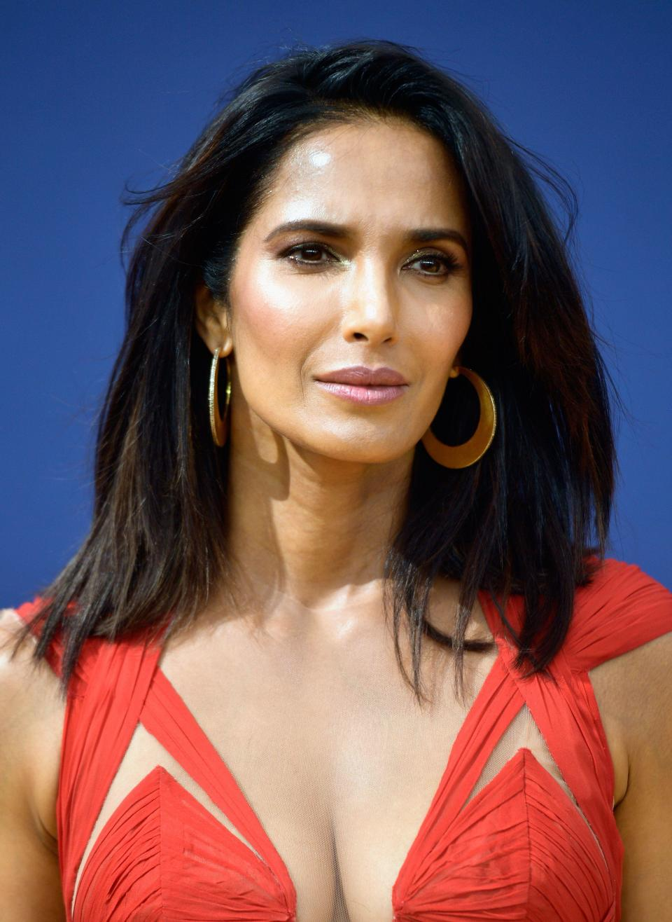 <p>You could spot Padma Lakshmi's metallic inner-eye highlight from a mile away. And her sleek blowout by Michael Dueñas also deserves five stars.</p>