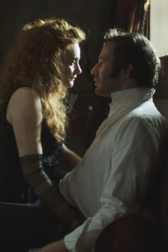 "Romola Garai as Sugar and Chris O'Dowd as William Rackham in ""The Crimson Petal and the White"" on Encore."
