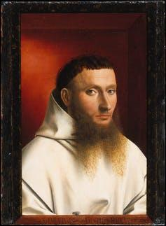 Painting of a bearded monk with a fly painted on the frame.
