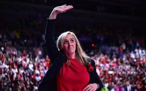 Tracey Neville of England waves the crowd during the bronze medal match between England and South Africa at M&S Bank Arena on July 21, 2019 in Liverpool, England - Credit: Getty Images