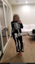 <p>As a skeleton, debuting her first costume of 2016.</p>