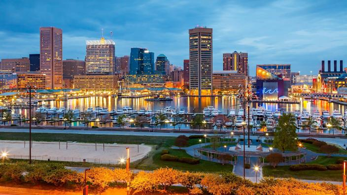 View on downtown of Baltimore at night.