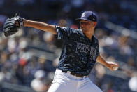 San Diego Padres starting pitcher Eric Lauer works against a Colorado Rockies batter during the second inning of a baseball game Sunday, Sept. 8, 2019, in San Diego. (AP Photo/Gregory Bull)