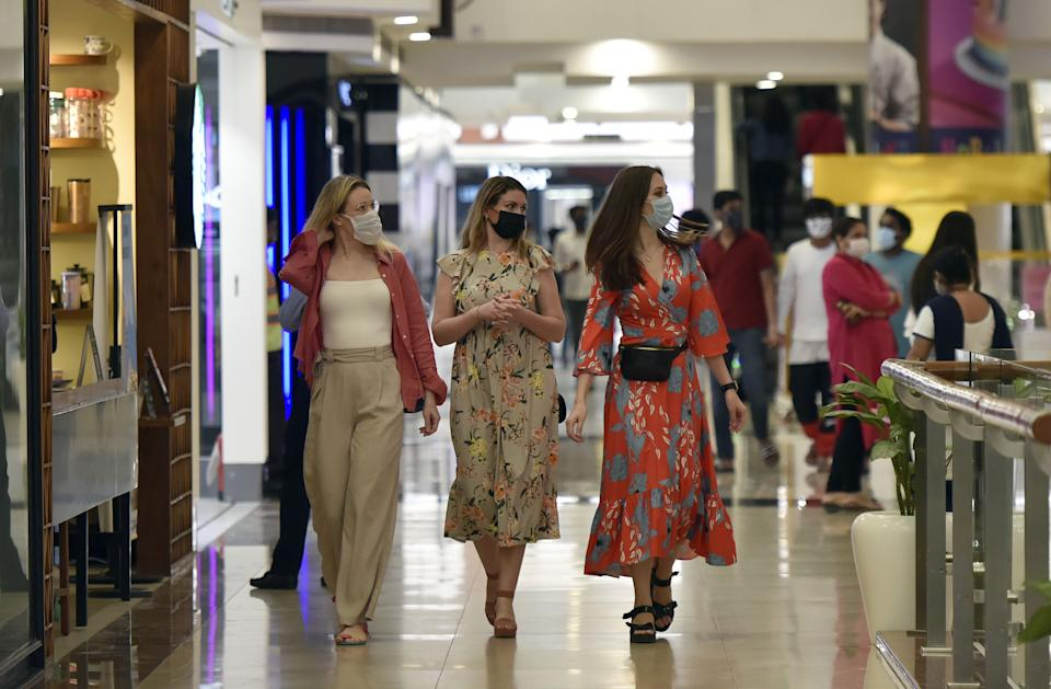 People shopping at Select City Walk Mall in Delhi