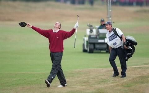 Amateur player Justin Rose holes his third shot on the 18th hole...19 Jul 1998: Amateur player Justin Rose holes his third shot on the 18th hole during the 1998 British Open held at Royal Birkdale, Southport, Merseyside. - Credit: Getty Images