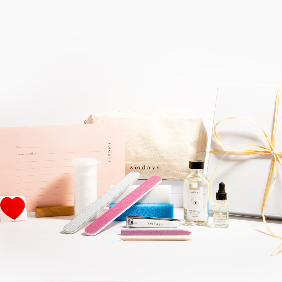 """<h3>Dear Sundays Buff Mani Essentials</h3><br>This bundle is half mani kit and half self-love gift. It includes all the tools to give yourself the perfect non-toxic manicure, along with a self-care love letter and affirmation wall stickers. <br><br><strong>Dear Sundays</strong> Buff Mani Essentials, $, available at <a href=""""https://go.skimresources.com/?id=30283X879131&url=https%3A%2F%2Fdearsundays.com%2Fproduct%2Fnail-polish%2Fgifts%2Fbuff-mani-essentials%2F"""" rel=""""nofollow noopener"""" target=""""_blank"""" data-ylk=""""slk:Dear Sundays"""" class=""""link rapid-noclick-resp"""">Dear Sundays</a>"""