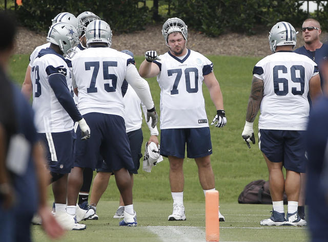 Dallas Cowboys offensive guard Zack Martin (70) participates in a practice at the NFL football team's training camp in Frisco, Texas, Tuesday, June 12, 2018. (AP Photo/Brandon Wade)