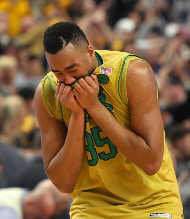 <p>Notre Dame forward Bonzie Colson (35) reacts after their 83-71 loss to West Virginia in a second-round men's college basketball game in the NCAA Tournament, Saturday, March 18, 2017, in Buffalo, N.Y. (AP Photo/Bill Wippert) </p>