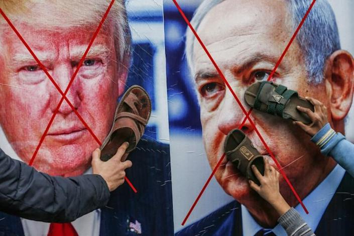 Palestinians strongly oppose US President Donald Trump's Middle East peace proposal which is strongly backed by Netanyahu (AFP Photo/SAID KHATIB, SAID KHATIB)