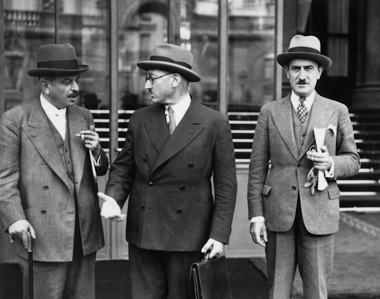 "French wartime Vichy regime prime minister Pierre Laval, pictured on the right in 1939, claimed he was ""convinced that the Jews were being deported to Poland to create a Jewish state"""