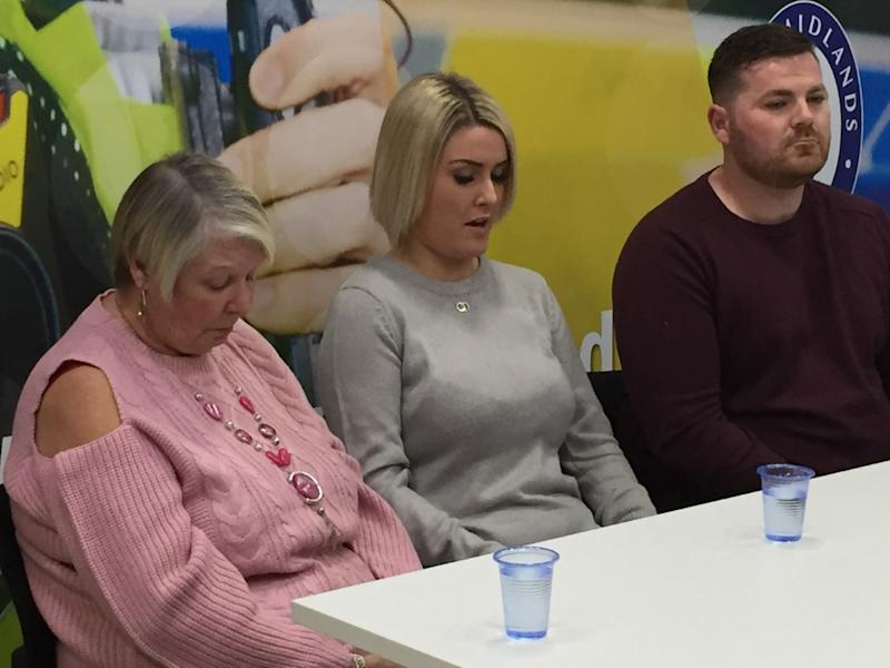 The mother of road accident Aaron Wilson, Irene, his partner Katie Robertson, and his friend Scott Good, appealing for information about drivers who left the scene during a news conference at West Midlands Police HQ. (Credit: Matthew Cooper/PA)