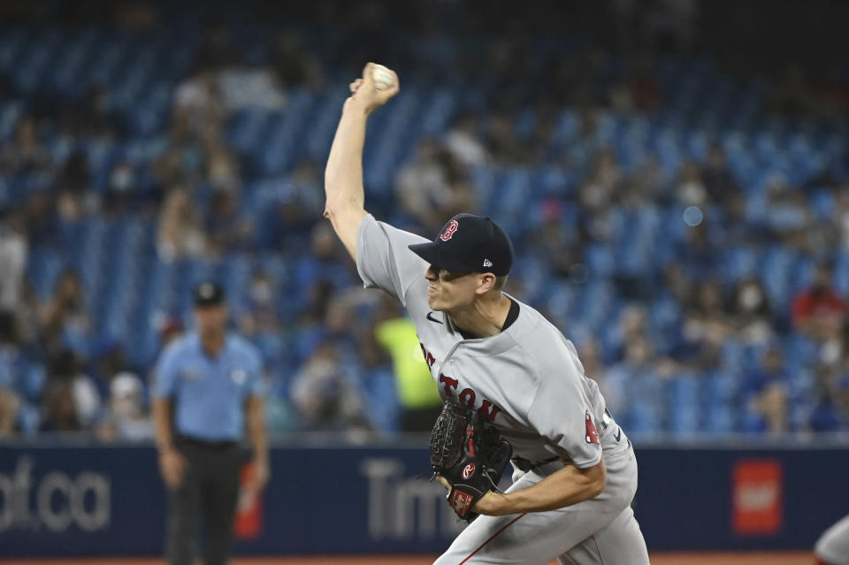 Boston Red Sox starting pitcher Nick Pivetta delivers in the first inning of the first baseball game of a doubleheader against the Toronto Blue Jays in Toronto, Saturday Aug. 7, 2021. (Jon Blacker/The Canadian Press via AP)