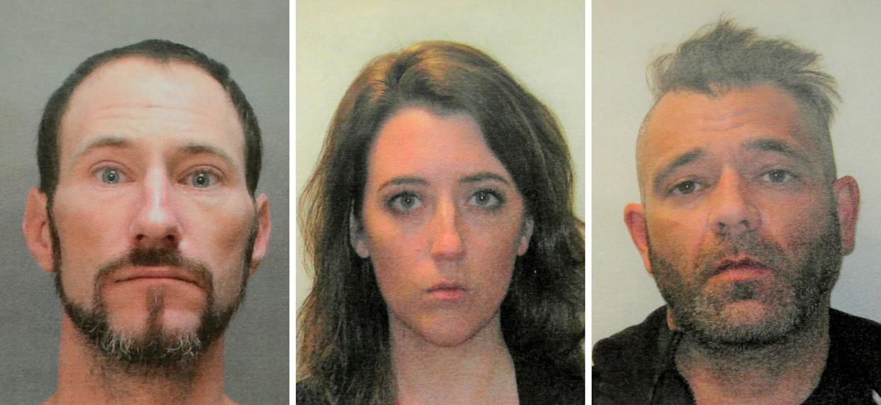 This November 2018 combination photo provided by the Burlington County Prosecutors office shows Johnny Bobbitt (left), Kate McClure (center) and Mark D'Amico (right). (Photo: ASSOCIATED PRESS)