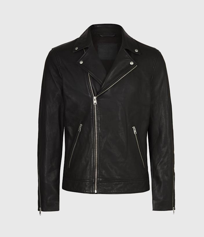 """<p><strong>AllSaints</strong></p><p>us.allsaints.com</p><p><strong>$459.00</strong></p><p><a href=""""https://go.redirectingat.com?id=74968X1596630&url=https%3A%2F%2Fwww.us.allsaints.com%2Fmen%2Fleather-jackets%2Fallsaints-tyson-biker%2F%3Fcolour%3D5&sref=https%3A%2F%2Fwww.menshealth.com%2Fstyle%2Fg26014395%2Fbest-spring-jackets-men%2F"""" rel=""""nofollow noopener"""" target=""""_blank"""" data-ylk=""""slk:BUY IT HERE"""" class=""""link rapid-noclick-resp"""">BUY IT HERE</a></p><p>Would a casual spring jacket round-up be complete without a nod to leather? This AllSaints version is crafted in classic leather without any excess bulk.</p>"""