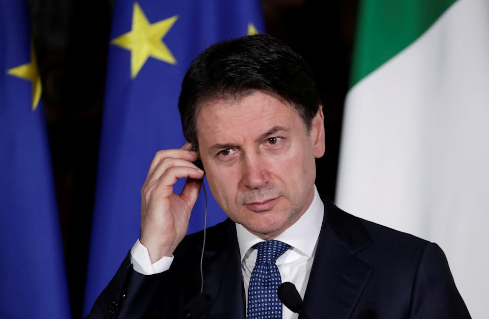 Italian Prime Minister Giuseppe Conte and French President Emmanuel Macron (not pictured) hold a joint news conference during a one day Italo-Franco summit in Naples, Italy February 27, 2020. REUTERS/Ciro De Luca