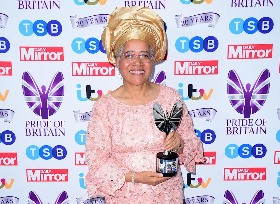 Dame Elizabeth Anionwu with the Lifetime Achievement Award, presented by Janet Jackson, in the press room during the Pride of Britain Awards held at the The Grosvenor House Hotel, London.