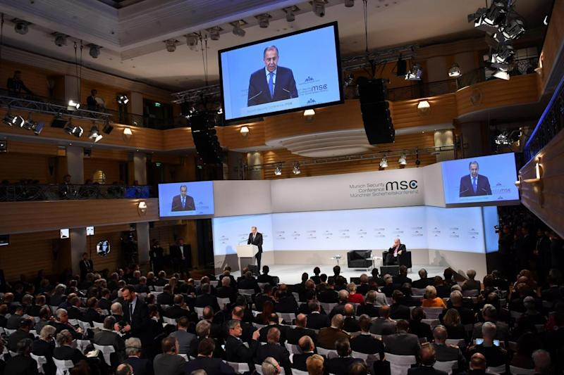 'Babble': Sergey Lavrov delivers a speech at the 2018 Munich Security Conference (Getty Images)