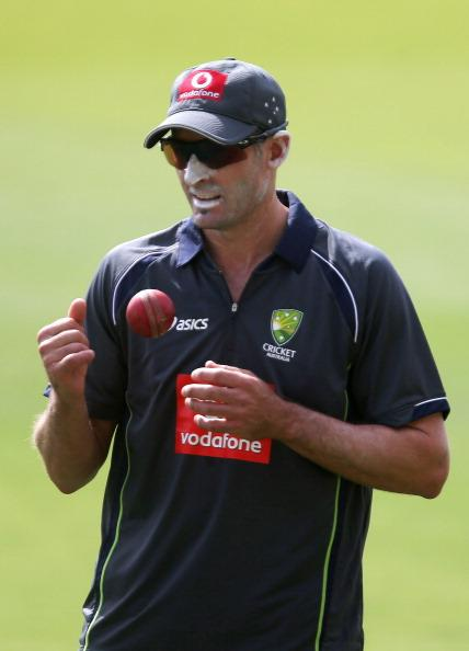 ADELAIDE, AUSTRALIA - NOVEMBER 20: Michael Hussey tosses a ball during an Australian training session at Adelaide Oval on November 20, 2012 in Adelaide, Australia.  (Photo by Regi Varghese/Getty Images)