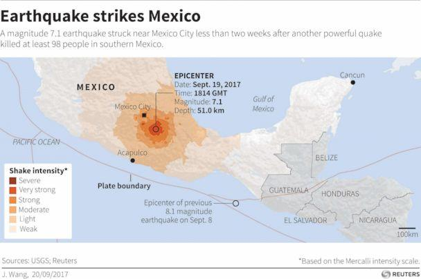 PHOTO: Map locating earthquake that struck Mexico on September 19, 2017. (Reuters)