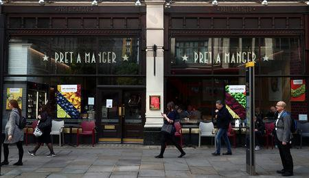 People walk past a Pret a Manger in London, Britain, May 22, 2019. REUTERS/Hannah McKay