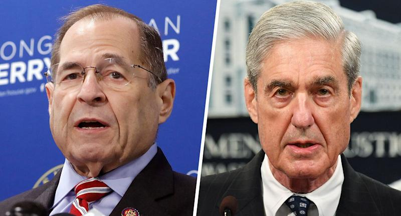 Rep. Jerry Nadler, D-N.Y., chairman of the House Judiciary Committee, and special counsel Robert Mueller (Photos: Richard Drew/AP; Mandel Ngan/AFP/Getty Images)