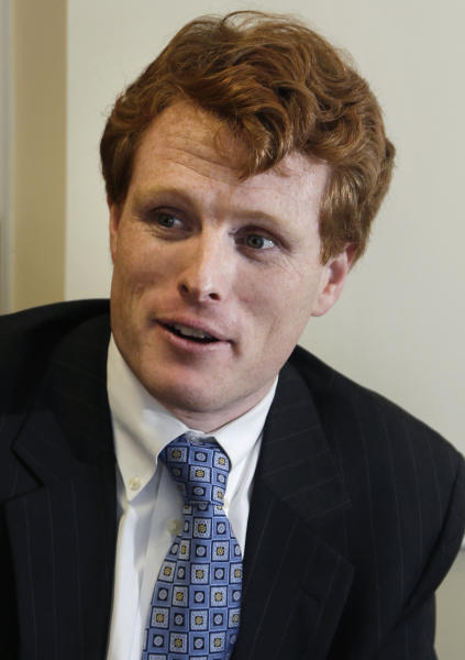 U.S. Rep. Joseph Kennedy III, D-Mass., speaks during an interview with an Associated Press reporter in Milford, Mass., Monday, Feb. 11, 2013. Kennedy is the grandson of former Attorney General Robert F. Kennedy. President John F. Kennedy is his great-uncle. Both were assassinated more than a decade before he was born. Joe Kennedy says he's working to earn the respect of his colleagues on his own.(AP Photo/Elise Amendola)