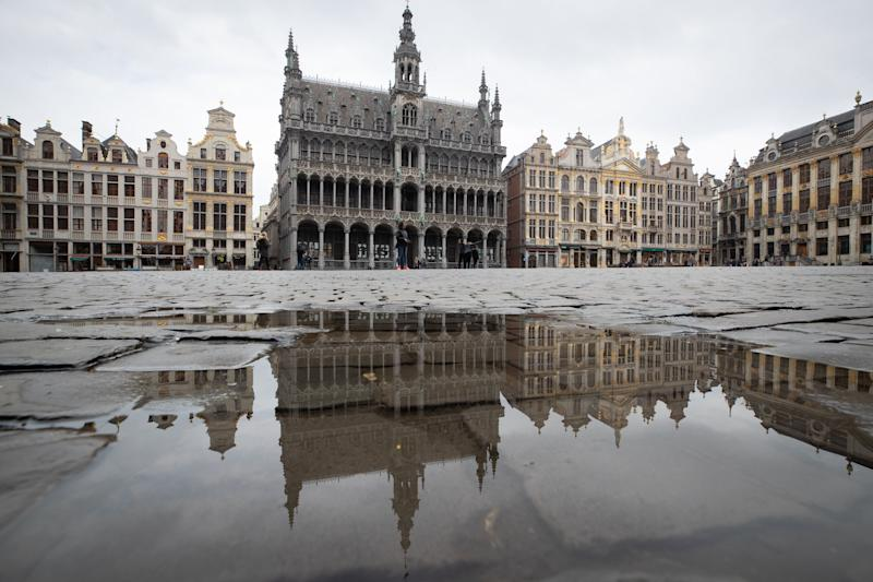 A picture shows the empty Grand-Place in the centre of Brussels on March 16, 2020, amid the outbreak of COVID-19. Source: Getty Images
