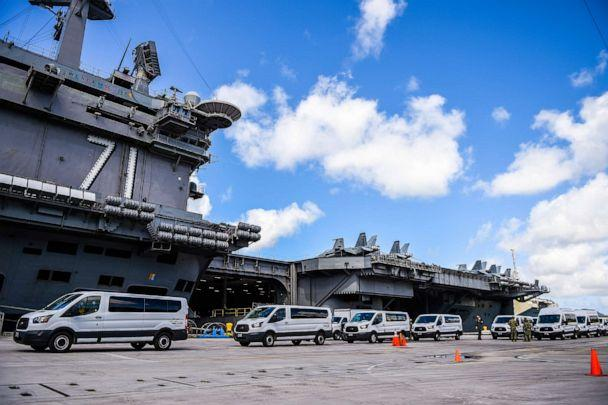 PHOTO: U.S. Navy personnel coordinate transportation of Sailors assigned to the aircraft carrier USS Theodore Roosevelt who have tested negative for COVID-19, April 10, 2020. (U.S. Navy)