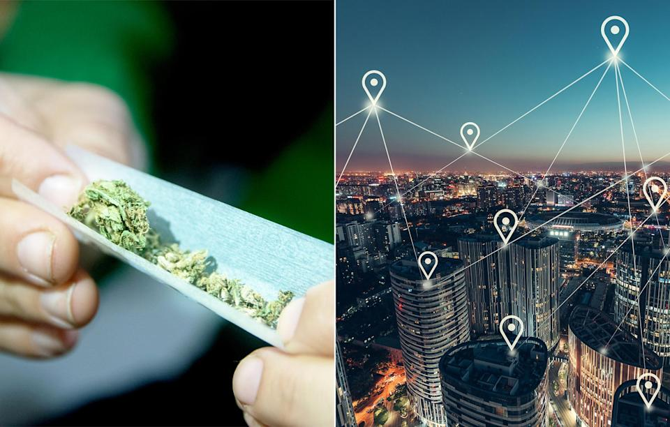 A combination image of someone rolling a marijuana joint and a graphic depicting decentralized blockchain technology. (Getty)
