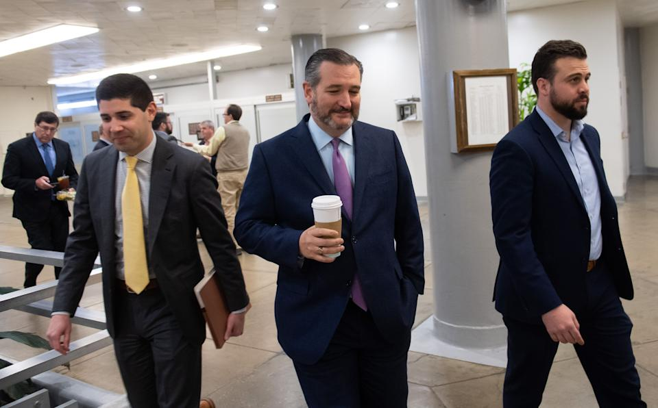 US Senator Ted Cruz, Republican of Texas, arrives for a series of votes related to a bill in response to COVID-19, known as coronavirus, at the US Capitol in Washington, DC, March 18, 2020. (Photo by SAUL LOEB / AFP) (Photo by SAUL LOEB/AFP via Getty Images)