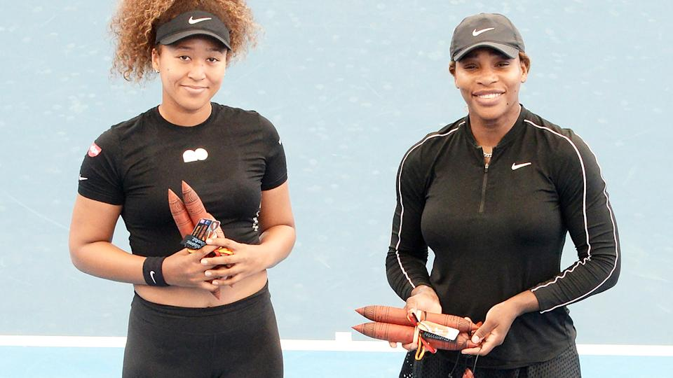 Naomi Osak and Serena Williams, pictured here after their exhibition match in Adelaide.