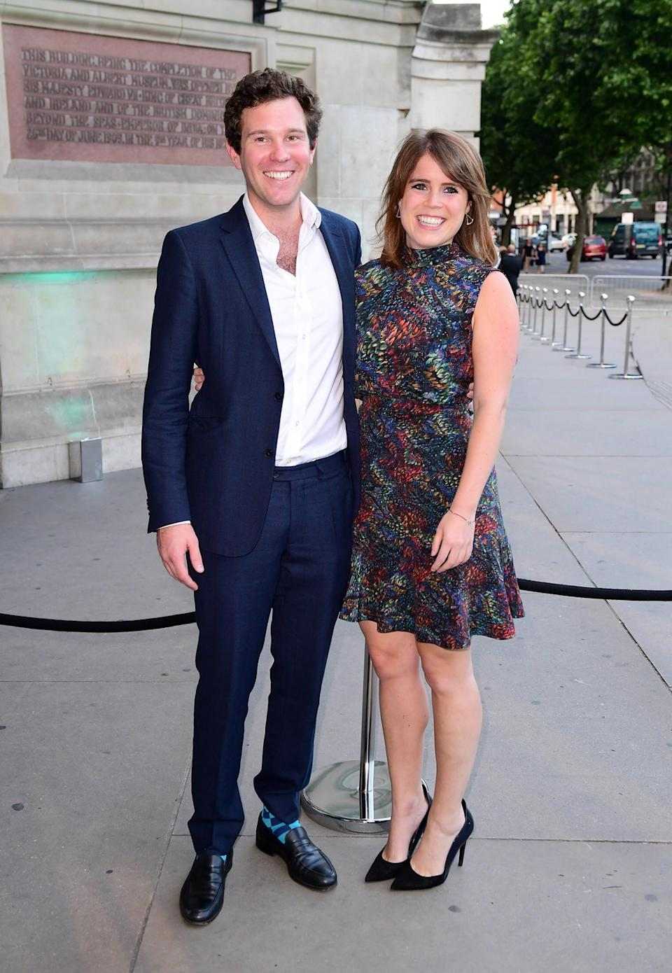 <p>Looking every inch the best dressed couple, Jack and Princess Eugenie grinned from ear to ear in their summer looks. <br><em>[Photo: PA]</em> </p>