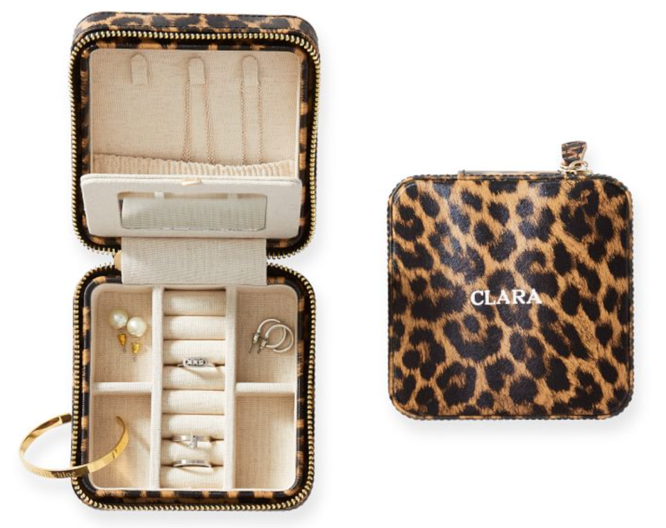 Mark & Graham Small Travel Foil Embossed Jewelry Case in Natural Leopard