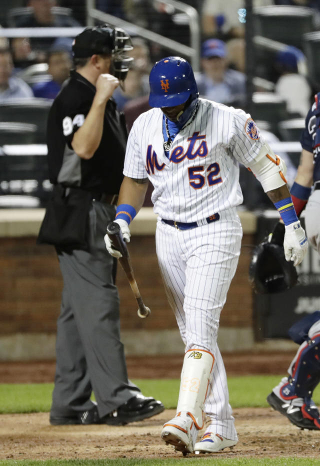 New York Mets' Yoenis Cespedes (52) reacts after striking out during the ninth inning of the team's baseball game against the Atlanta Braves on Wednesday, May 2, 2018, in New York. (AP Photo/Frank Franklin II)