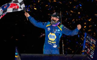 <em>Brad Sweet celebrates after his sweep Saturday (Trent Gower/World of Outlaws).</em>