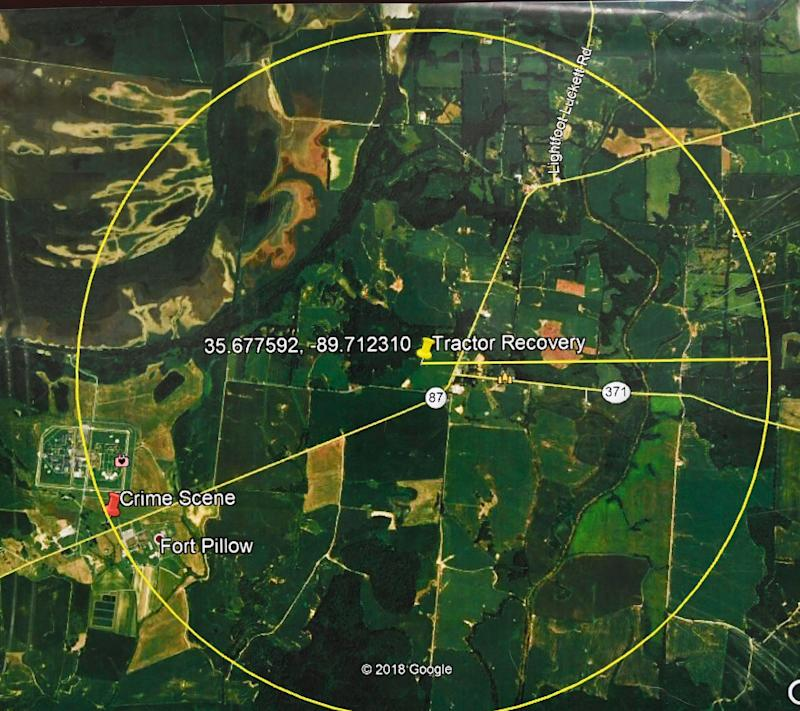 TBI showed this map of the search area as they held a press conference about Curtis Ray Watson, an inmate who escaped from the West Tennessee State Penitentiary. Watson is listed by TBI as a person of interest in the homicde of a Tennessee Department of Correction employee on Wednesday. TBI considers him extremely dangerous. Thursday, Aug. 8, 2019, in Nashville, Tenn.