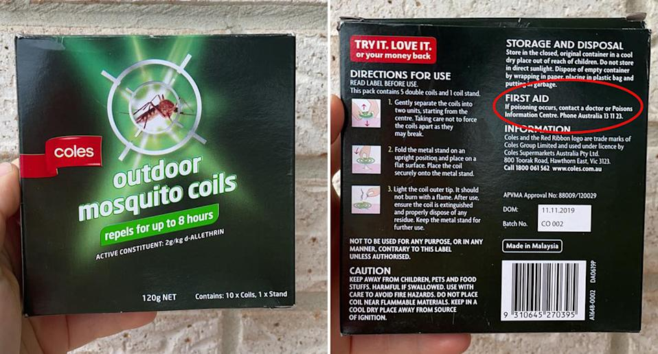 Coles Outdoor mosquito coils packet which lists the incorrect number for poison information.