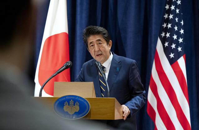Japanese Prime Minister Shinzo Abe speaks during a news conference Wednesday, Sept. 25, 2019, in New York, regarding a statement made earlier U.S. President Donald Trump announcing a new trade agreement with Japan that will, according to President Trump, expand market access and eliminate tariffs for agriculture and industrial goods and digital trade. (AP Photo/Craig Ruttle)