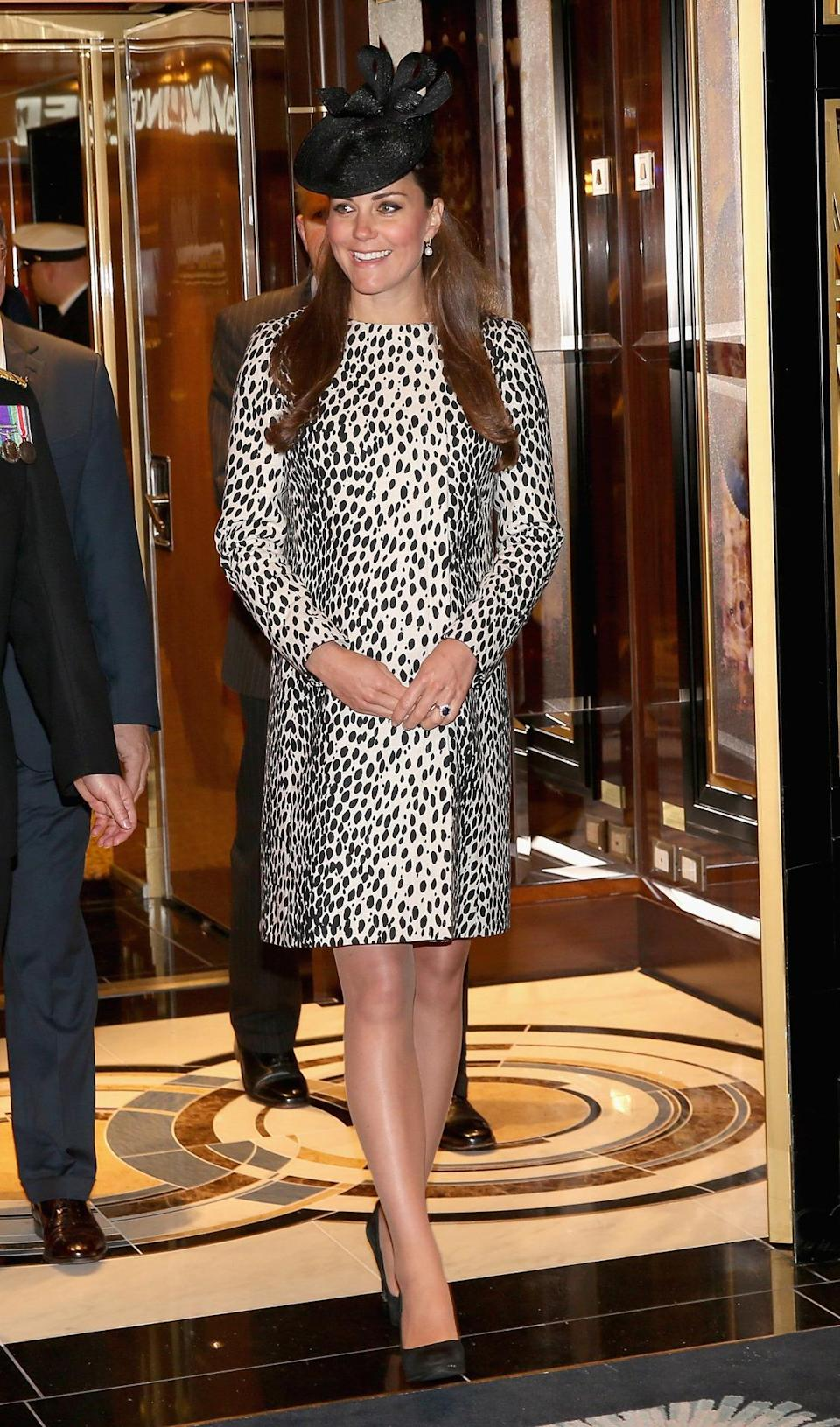 <p>Kate opted for a louder look for a ship naming ceremony in Southampton. Dressed in a dalmatian print coat from Hobbs, the Duchess carried a mini satchel by Alexander McQueen and wore a black Lock & Co hat. </p><p><i>[Photo: PA]</i></p>