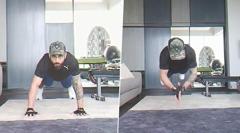 Virat Kohli Comes Up With an Extreme Version of Hardik Pandya's Flying Push-Ups, Indian Skipper Adds Claps to the Drill (Watch Video)