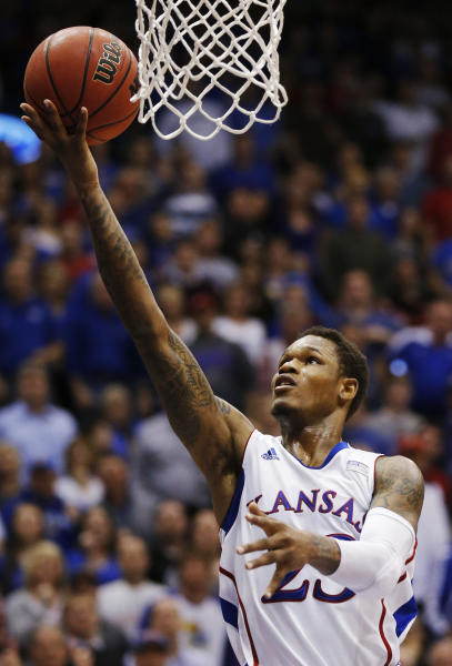 Kansas guard Ben McLemore (23) makes a basket during the first half of an NCAA college basketball game against Kansas State in Lawrence, Kan., Monday, Feb. 11, 2013. (AP Photo/Orlin Wagner)