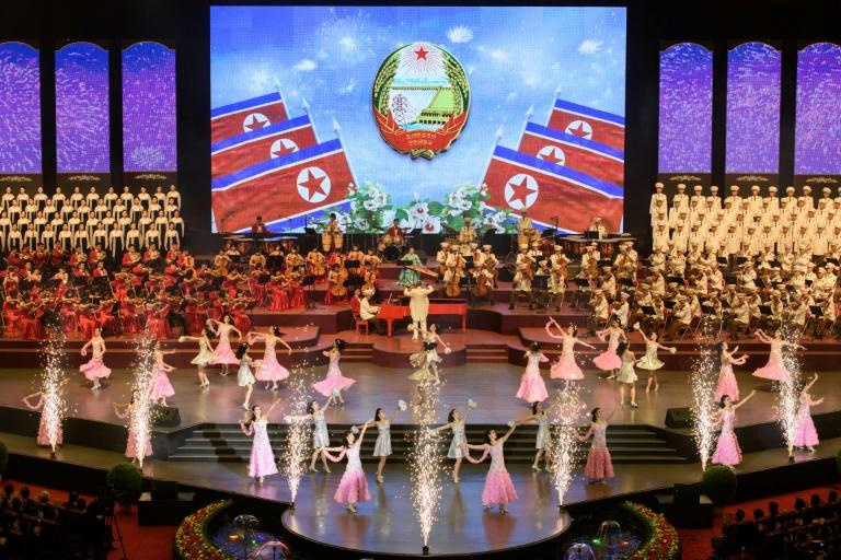 The celebrations began with a concert at Pyongyang Indoor Stadium